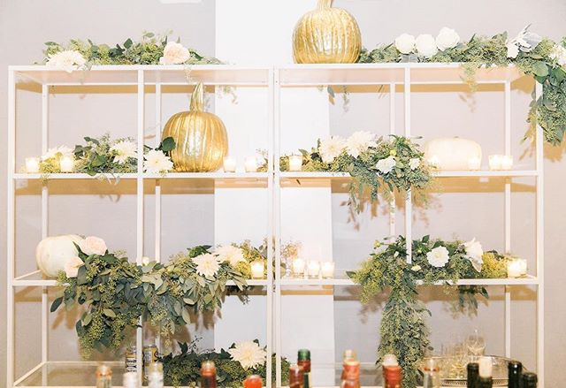Gold + White pumpkins always spice up the backdrop for some BOO-zy cocktails at the bar! 📷: @jillypowers  #pantsparty #octoberwedding #dcwedding #decaturhouse #fallwedding