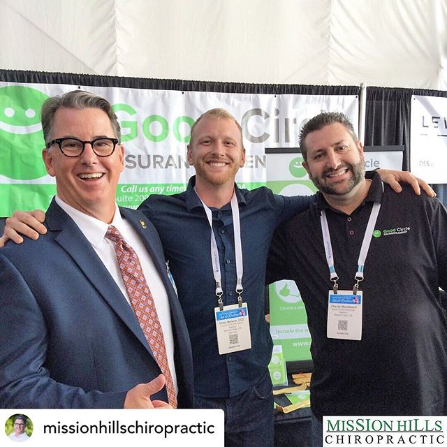 Here's a quick throwback to a great picture of us at the San Diego Chiropractic Convention with Dr. Tim of Mission Hills Chiropractic. Posted @withrepost • @missionhillschiropractic Here's a great pic of Dr. Tim Gooing and friends from Good Circle Insurance at a recent CCA convention in San Diego!⠀ ⠀ We love our friends and we've partnered with them for good reasons! If you're looking for some help with chiropractic care costs or simply need insurance help, let us know - we'll have our friends help you, just like they've helped hundreds of our other patients.⠀ ⠀ Remember, we're open on Friday nights, like tonight AND we're open Saturday mornings, like tomorrow morning! Give us a call, shoot us a comment / message, or just stop by sometime, we would love to have a conversation and see how we can help make you better. ⠀ ⠀ www.missionhillschiropractic.com | (949) 586-8525