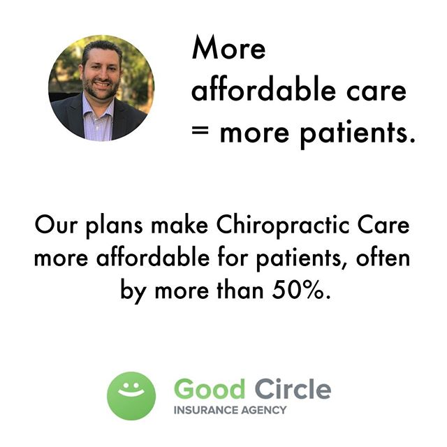 When patients can better afford Chiropractic care, they visit more and refer more!⠀ ⠀ More affordable care = more patients.⠀ ⠀ Plain and simple.⠀ ⠀ FAQs:⠀ 1. Do patients need health insurance before getting one of our plans? They can get a plan with or without existing insurance.⠀ 2. How much are plans for patients? They start at $30/mo and they can cancel at any time.⠀ 3. Do we have to join a network or pay to offer Good Circle plans? All you need are some free marketing materials, that's all, there's no cost or strings attached.⠀ ⠀ Visit our Chiropractic page (link in bio) for more FAQ's and free marketing materials⠀ ⠀ #GoodCircleInsurance⠀ ⠀ .⠀ .⠀ .⠀ .⠀ .⠀ #chiropractor #chiropractic #patients #wellness #health #chiropracticadjustment #insurance #backpain #adjustment #chiro #chiropracticworks #chiropracticcare #getadjusted