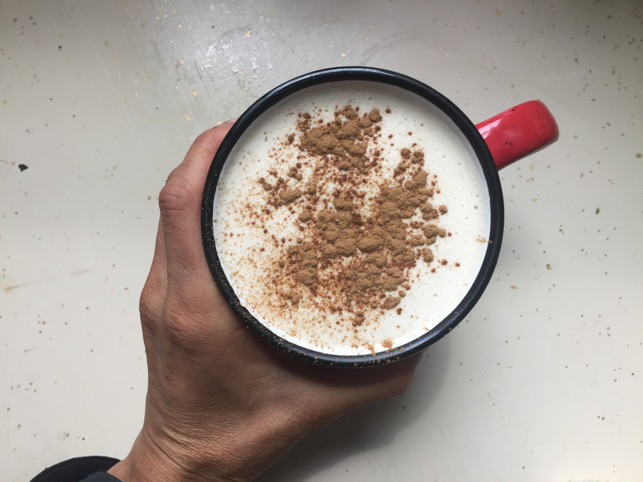 Mushroom Elixir topped with cinnamon (also a blood sugar stablizer)