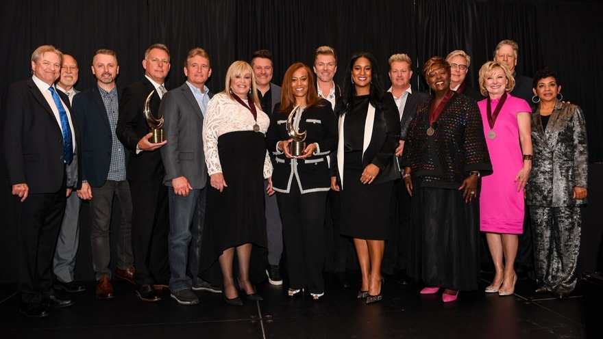 Pictured L to R:Gene Krcelic, Don Finto, Shane Quick, Gary Gentry, Roy Morgan, Dottie Leonard Miller, Jay DeMarcus, Yvette Boyd, Joe Don Rooney, LaDonna Boyd, Gary LeVox, Tramaine Hawkins, Don Moen, Janet Paschal, John Huie and GMAPresident & Executive Director Jackie Patilloat the GMA Honors and Hall of Fame Ceremony in Nashville, Tenn. on May 8, 2019. Photo: Jamie Gilliam