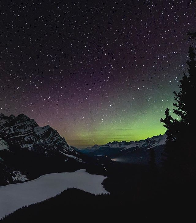 Saturday Night Lights. ⠀⠀⠀⠀⠀⠀⠀⠀⠀⠀⠀⠀ ••••• 🏷: #sonyalpha #sonyimages #nightscapes  #natgeospace #landscapehunter #earthporn #sharecangeo #cangeotravel #explorecanada #imagesofcanada #explorealberta #travelalberta #wanderlustalberta #canadaparks #jaspernationalpark #icefieldsparkway #peytolake