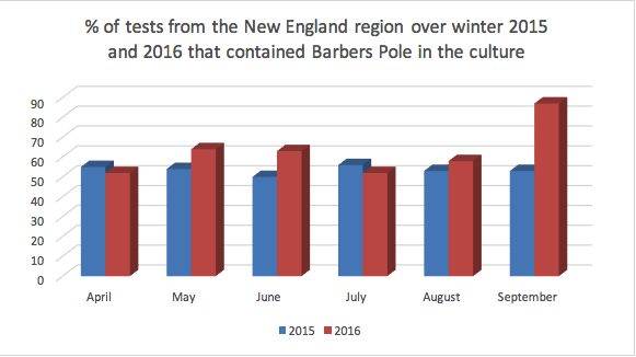 Figure 1: Percentage of samples tested positive for Barbers Pole for each month.