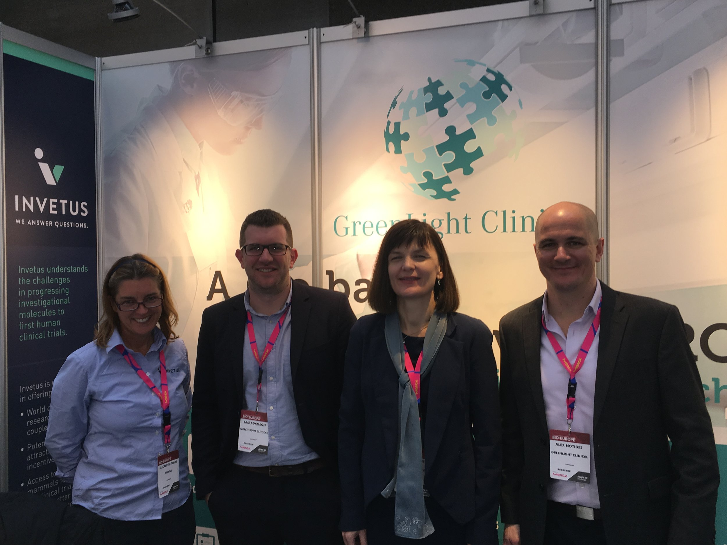 (L-R)  Dr Elizabeth Evans  (Invetus Director Business Development) with GreenLight Clinical colleagues  Sam Adamson  (Medical Science Liaison),  Linda Slipko  (Director, EU Business Development Manager),  Alex Notides  (Director, Asia Pacific Business Development)