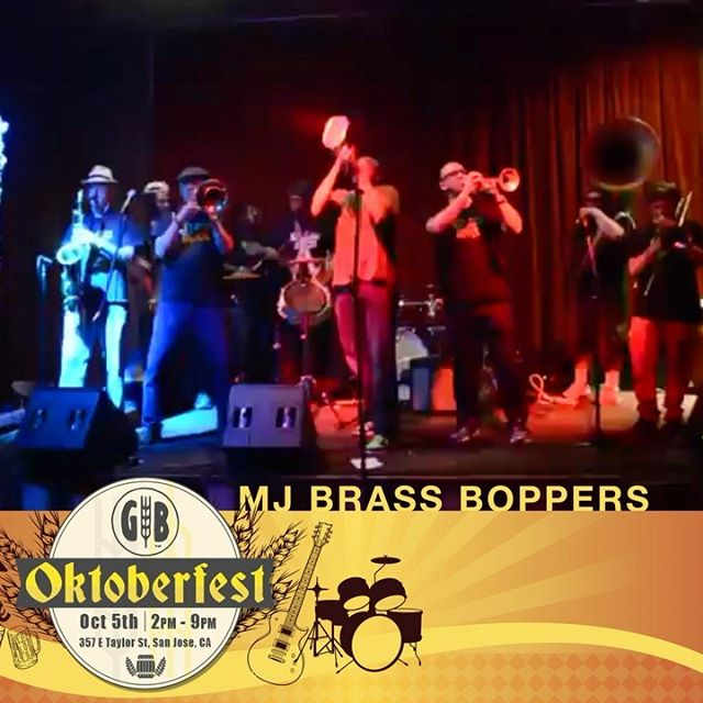 Playing at this Saturday's Oktoberfest at the @gbbrewingco in Japantown - @MJsBrassBoppers & Brian Nova Band. First set starts at 2:30! .   MJ's Brass Boppers // New Orleans style brass band. .   Brian Nova Band // Multi-Grammy award winnung jazz guitarist & singer