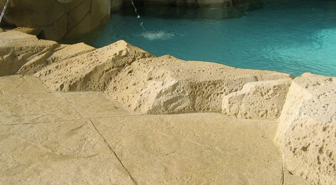 Artificial rock for pool coping