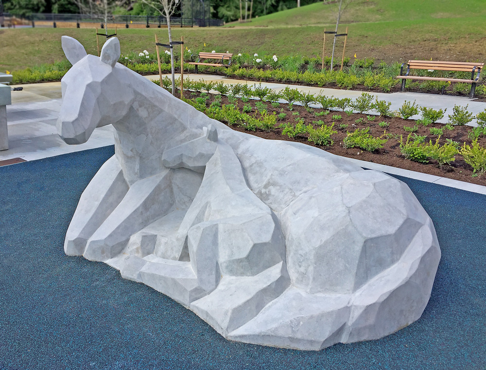 Polymorphic Horse and Foal 2017, Trent Hutton, Concrete, Burke Mountain Pioneer Park Coquitlam BC
