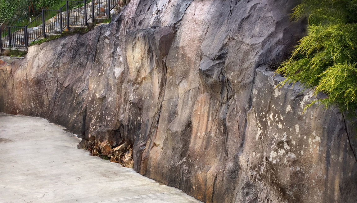Aged Granite Retaining Wall West Vancouver BC