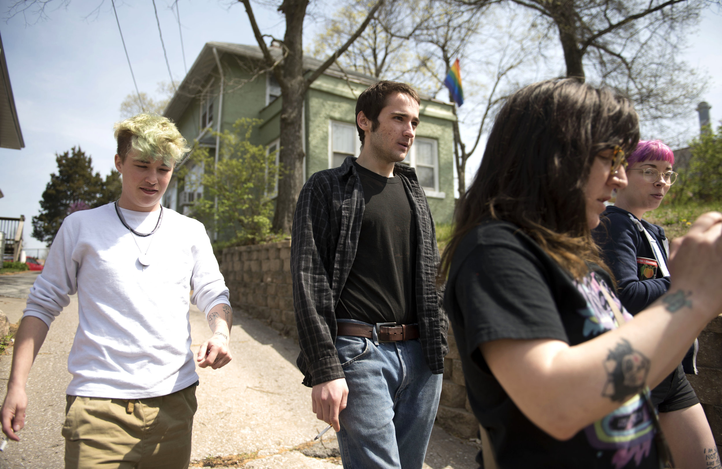 (From left) Zander, George, Alyssa and Briana take a walk to check on a bat they notice on a nearby trail. They named the bat Wesley and called Animal Control to check on the bat. Unfortunately, Wesley had to be euthanized and tested for Rabies.