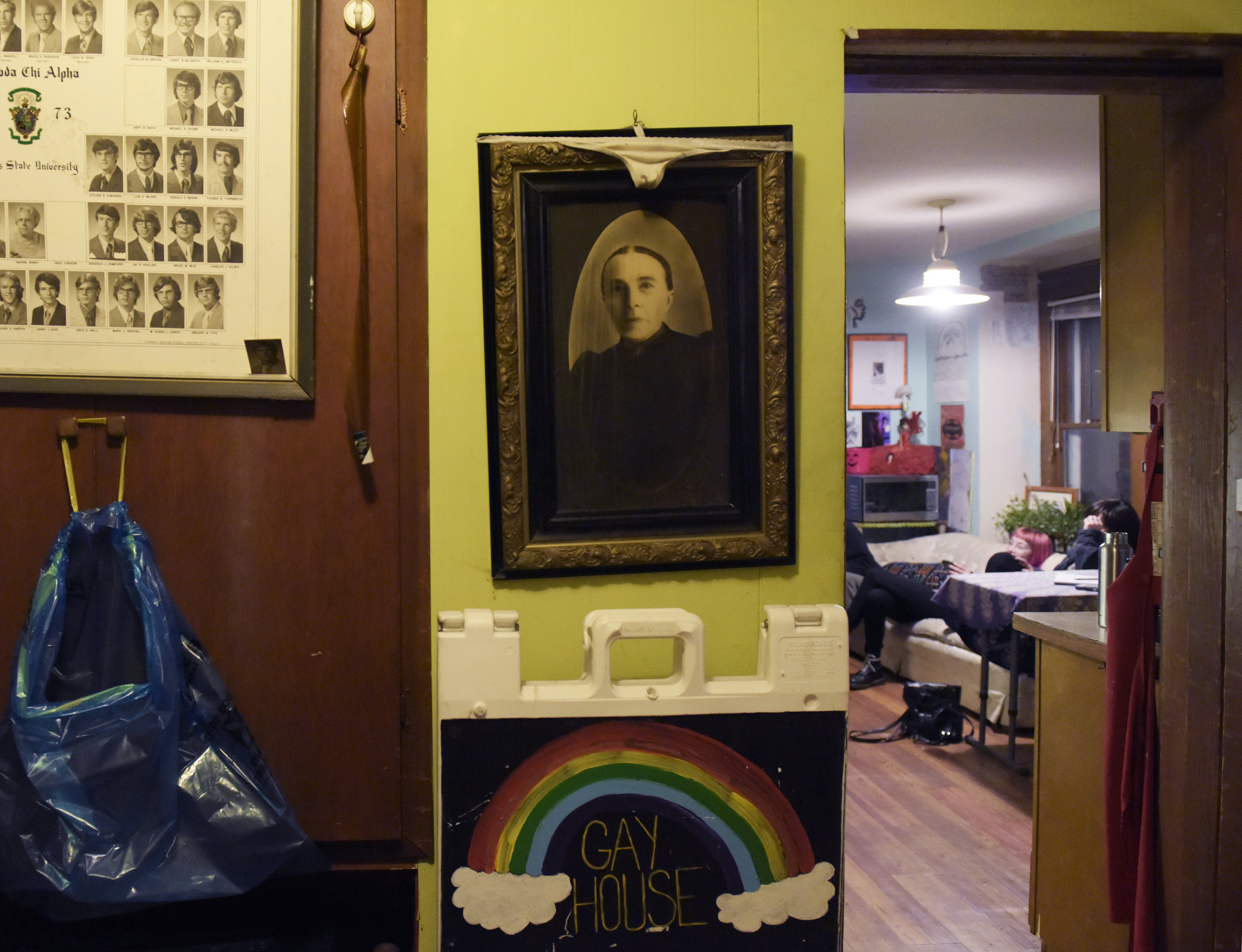 """I hung her up there because, well, it's a haunted house and I wanted people to know when they walked in,"" said Alyssa Kelley who has lived in Gay House since 2012. Alyssa said the house is haunted by Jane Froman who was a popular singer and entertainer in the 1930s, 40s and 50s. Froman died in Columbia and is buried in the cemetery behind Gay House. Alyssa said they could hear her singing at night. ""She hasn't been here since the paranormal investigators came,"" she said. ""I think we pissed her off by letting them come here."""