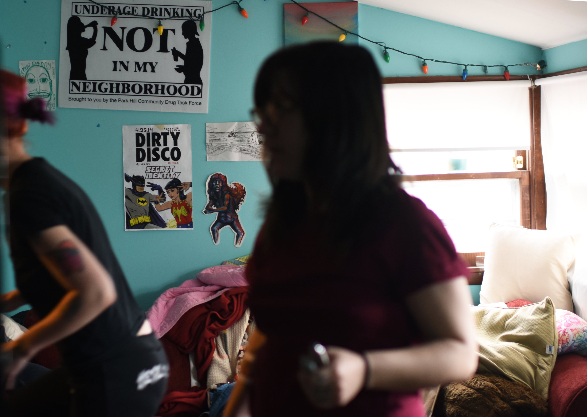 "The decor of Gay House is very eclectic. ""There is shit that has been on this wall since I have moved in,"" said Alyssa. ""People will move here, and they will put shit on the wall and then move out."""