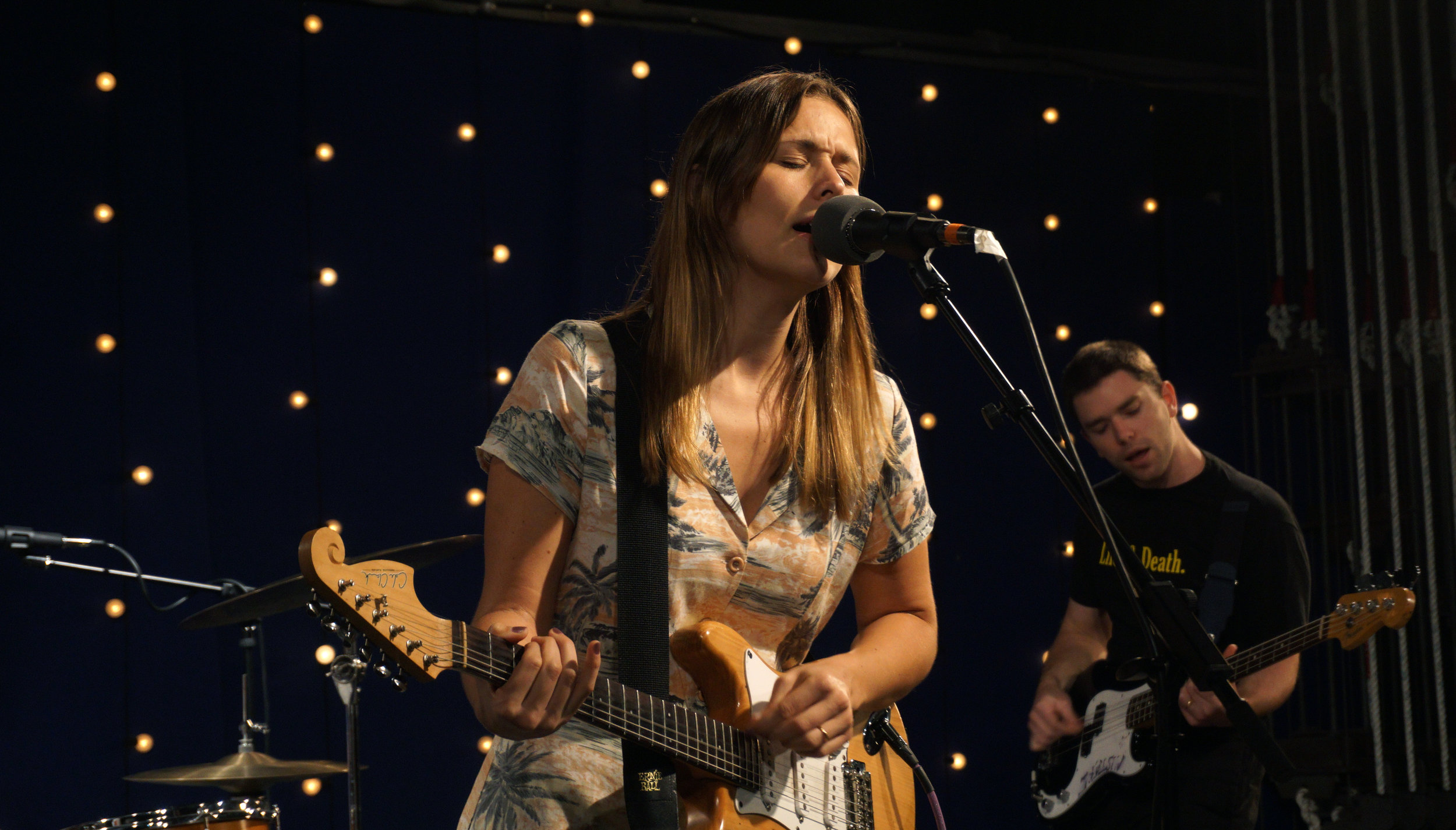 Hannah Joy of Sydney, Australia-based indie trio Middle Kids performs during a 909 Session at The Bridge radio station on June 11, 2018.