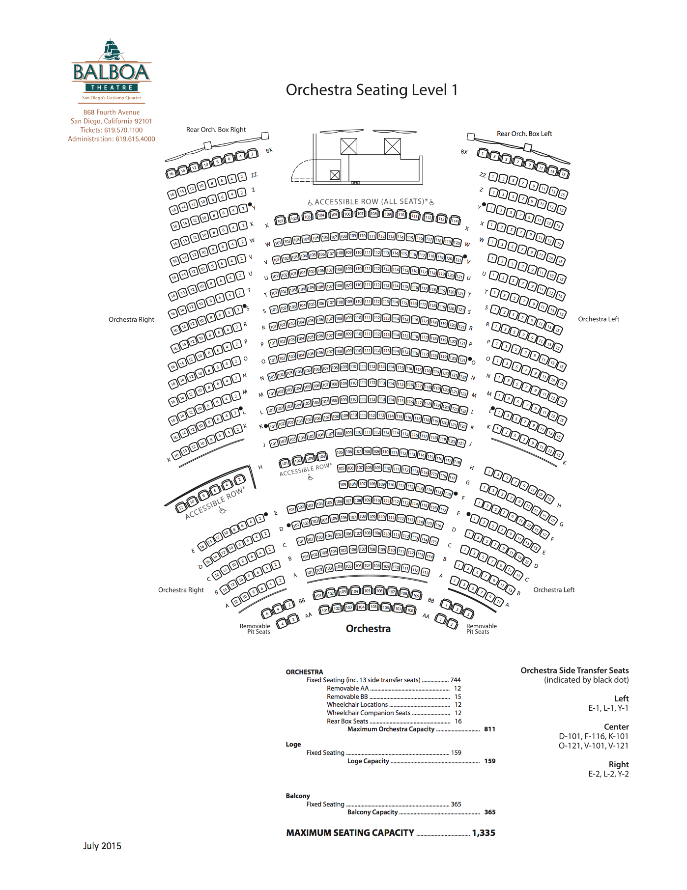 View Seats - View/Download a detailed PDF Seating Chart