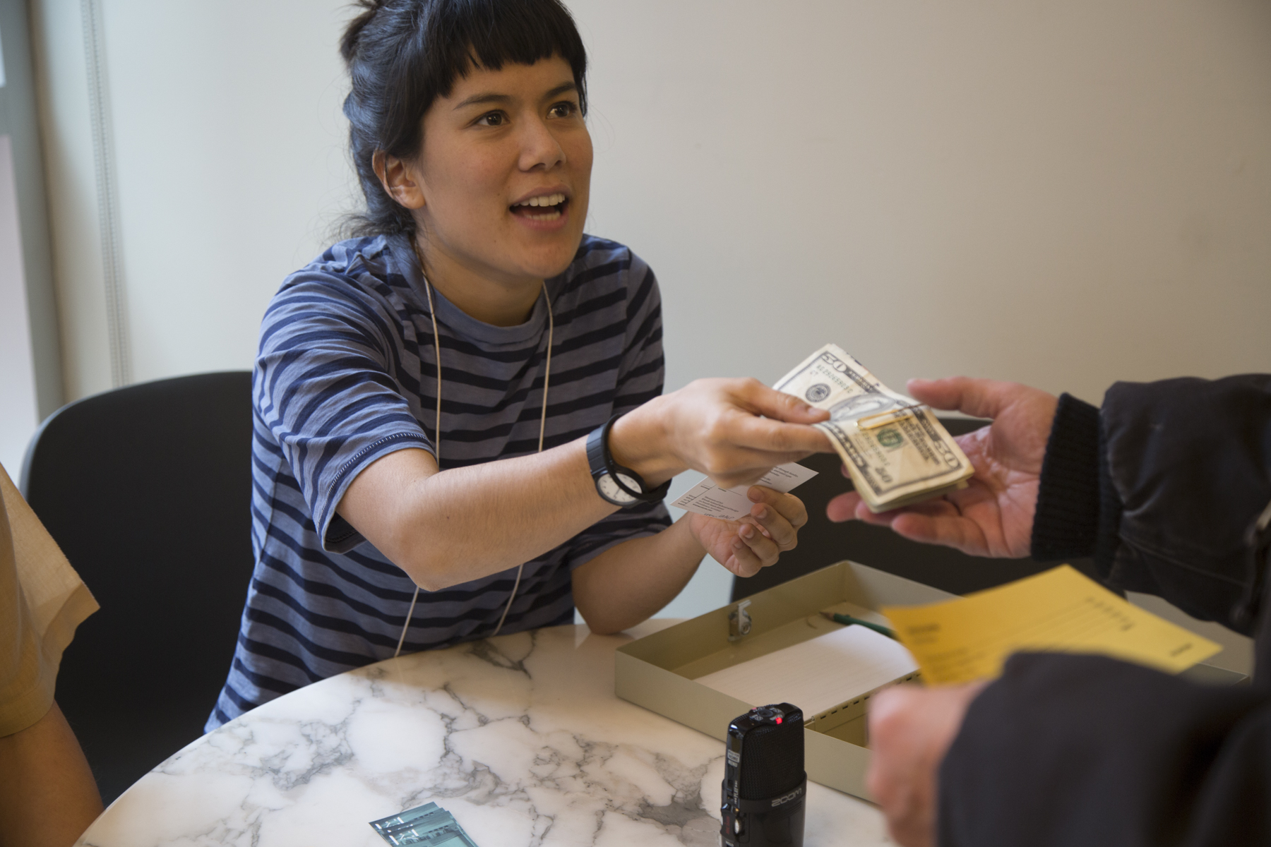 Guest critics were paid $75 in cash at the end of their visit. - They were paid $15 an hour—above living wage in Providence, RI—for 5 hours of work. This included a 30-minute pre-visit phone interview, a 1-hour orientation, 2-hours looking at art, 1-hour discussion and critique, and a final 30-minute post-visit phone interview.