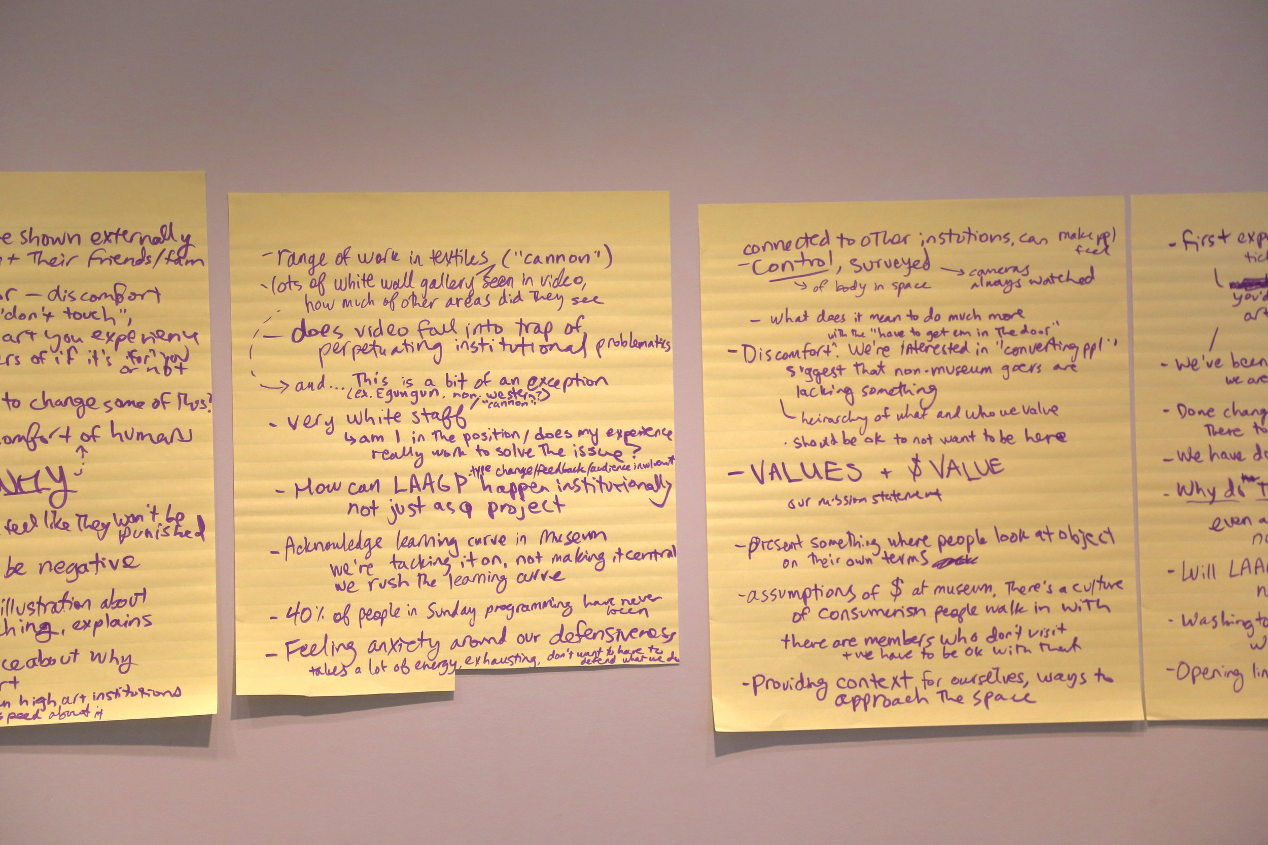 Notes from the museum staff discussion.