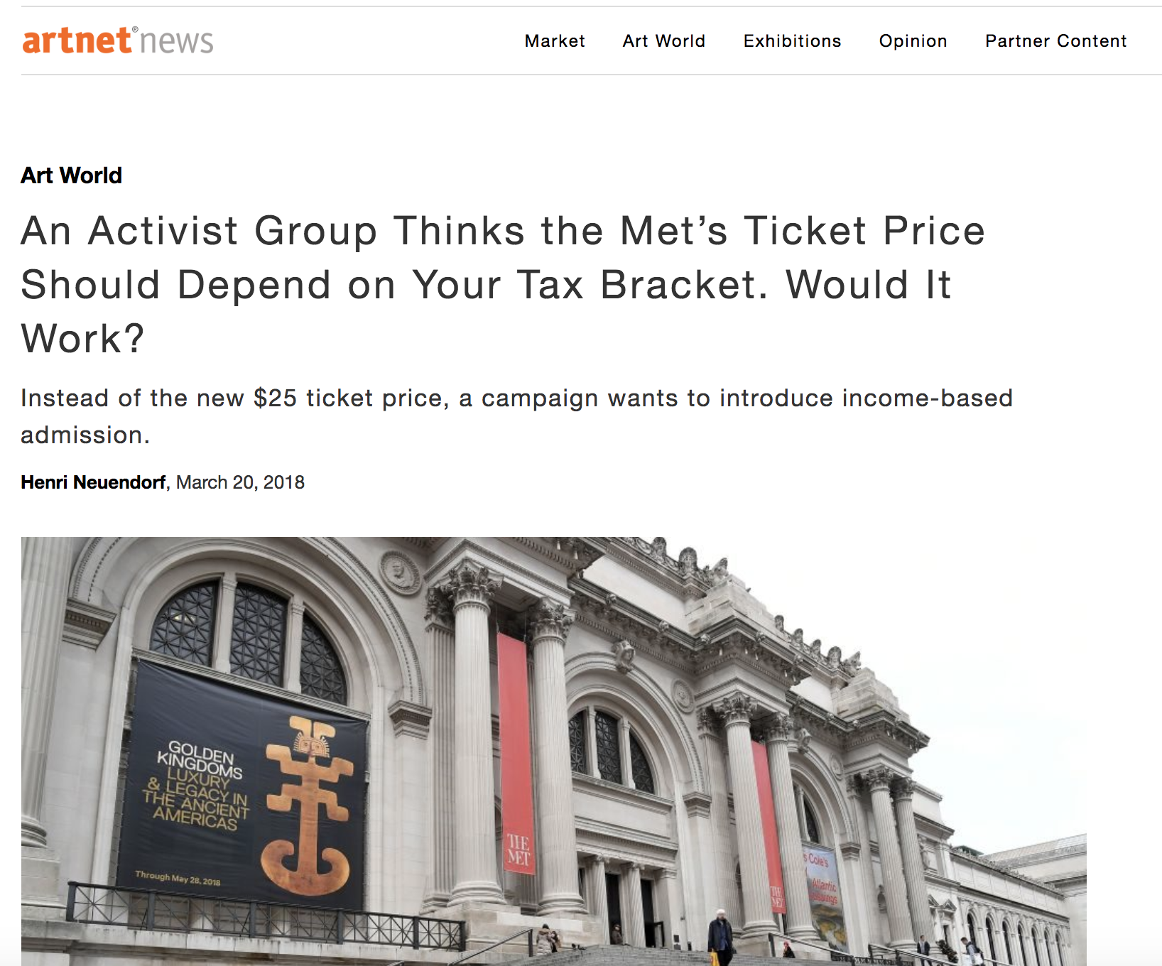Artnet News, March 2018 - Artnet News covers our collaborative project with Hello Velocity, Equitable Met in