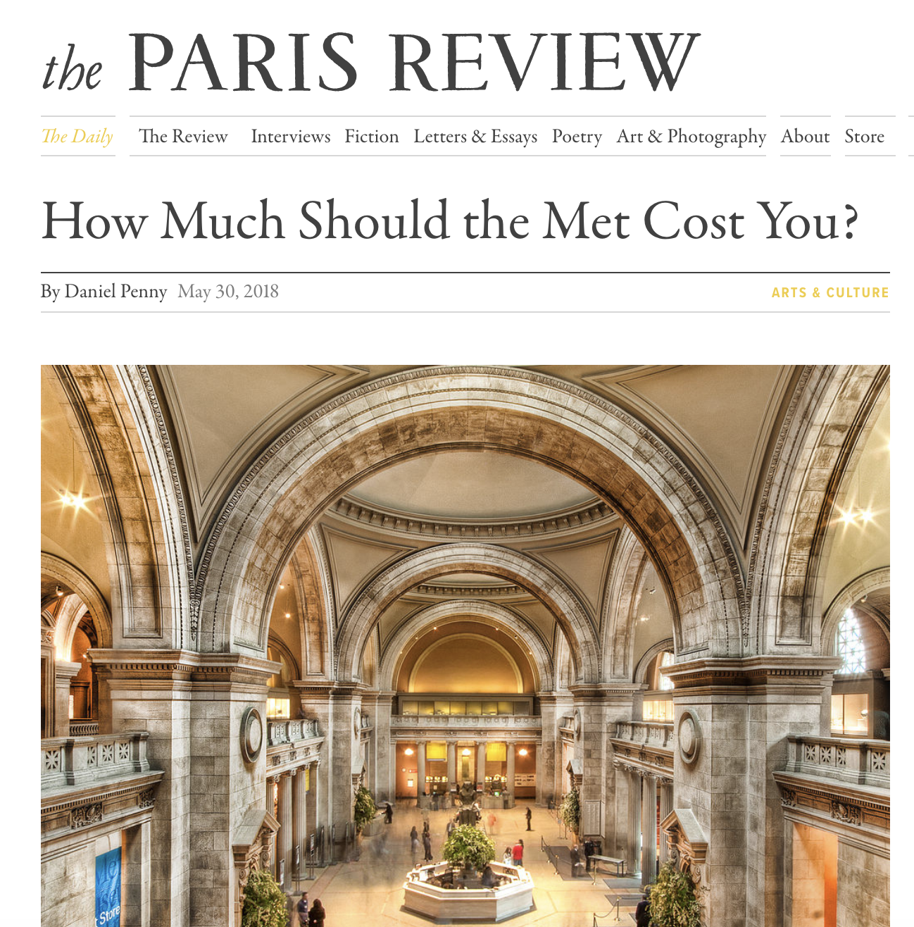 The Paris Review, May 2018 - Daniel Penny covers Equitable Met and Look at Art. Get Paid. in How Much Should the Met Cost You?