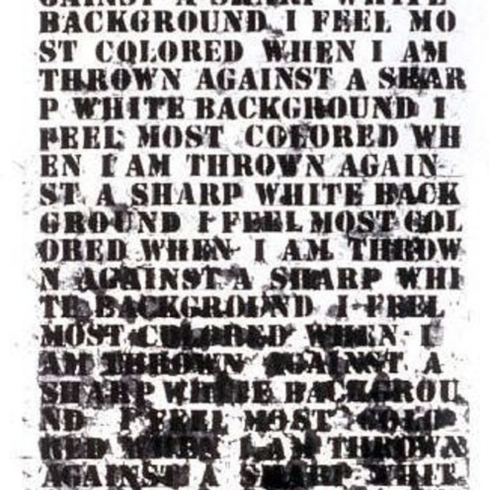 Interview on The Whitest Cube Podcast, July 2018 - Two museum workers of color, Ariana and Palace, have launched The Whitest Cube Podcast to critically reflect on their work and the conditions of dominant art museums today. They interviewed us about LAAGP and the thinking behind it.Image: Glenn Ligon, Untitled (I Feel Most Colored When I Am Thrown Against a Sharp White Background) 1990.