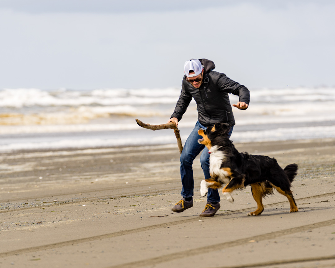 man playing with his dog on the beach