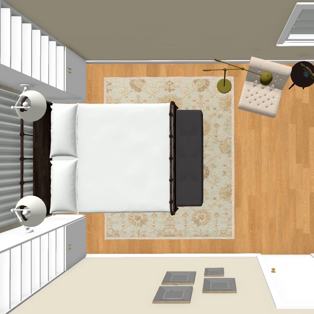 Master Bedroom Design 3D Rendering - Dollhouse View