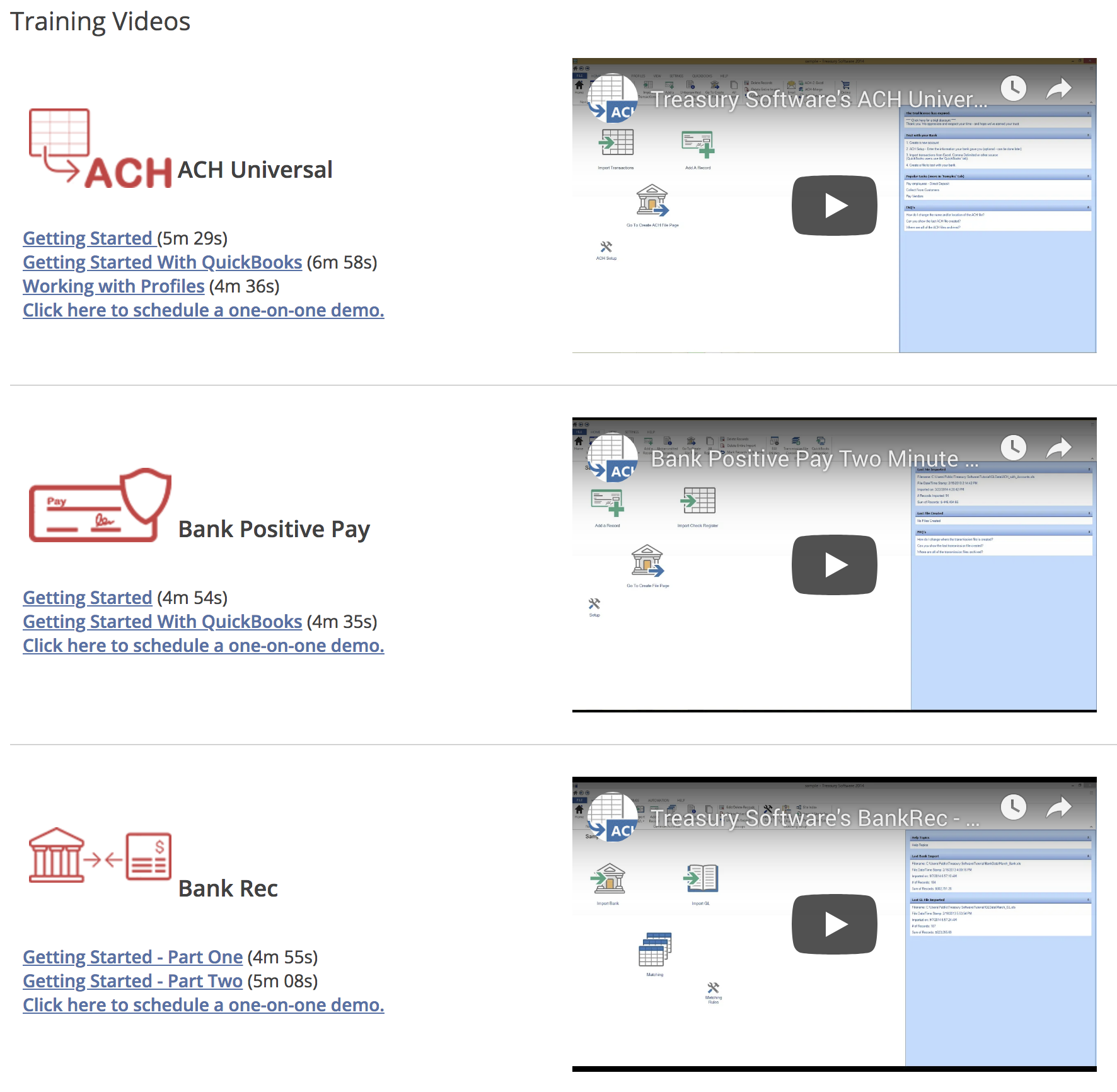 Screenshot of Existing Videos Page
