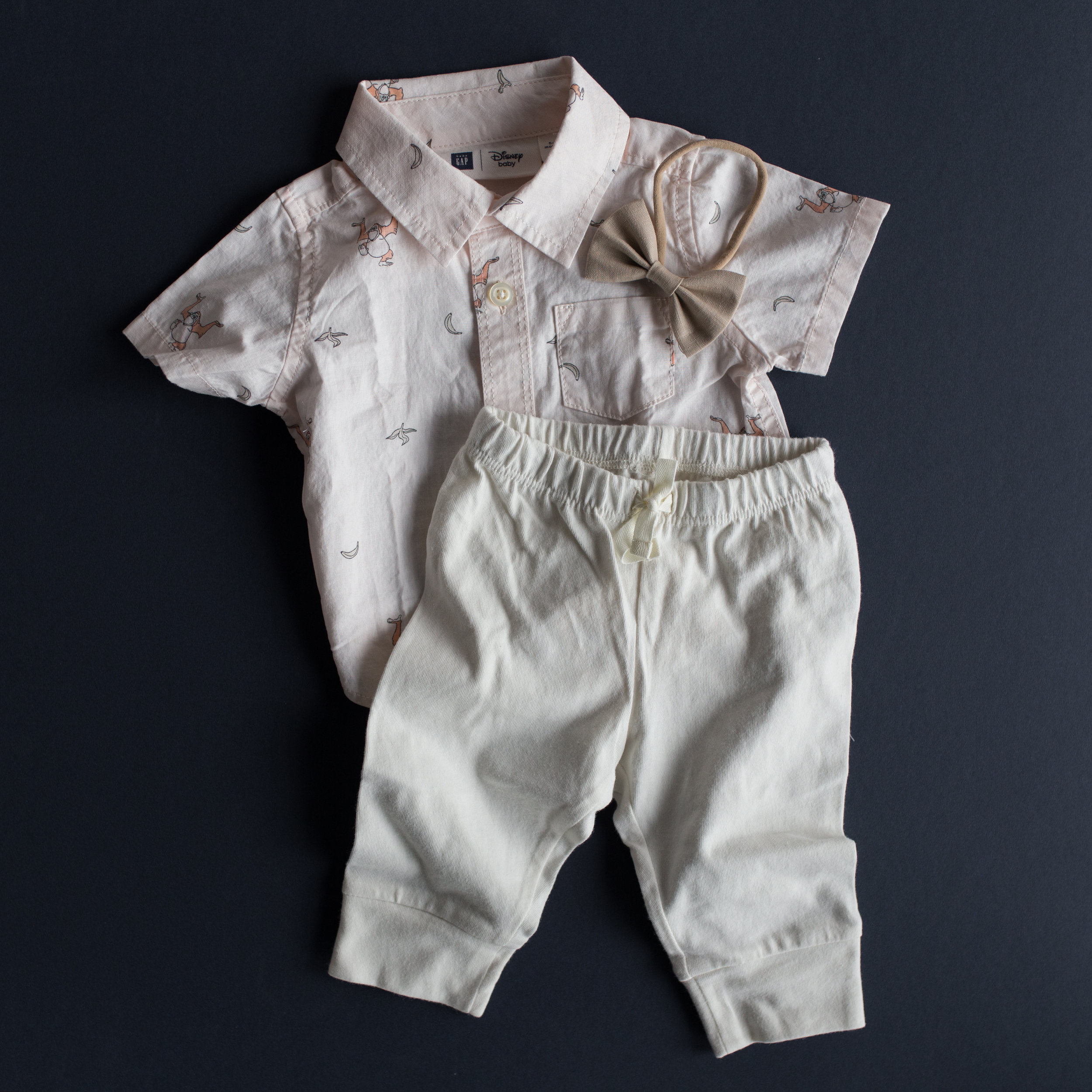 Most darling Disney Jungle Book shirt (sold out online in pink color, but available in white) $17.00 and ivory banded pants $16 from Gap!   http://www.gap.com/browse/product.do?cid=1027404&pcid=95684&vid=1&pid=394285002    http://www.gap.com/browse/product.do?cid=1027404&pcid=95684&vid=1&pid=394285002