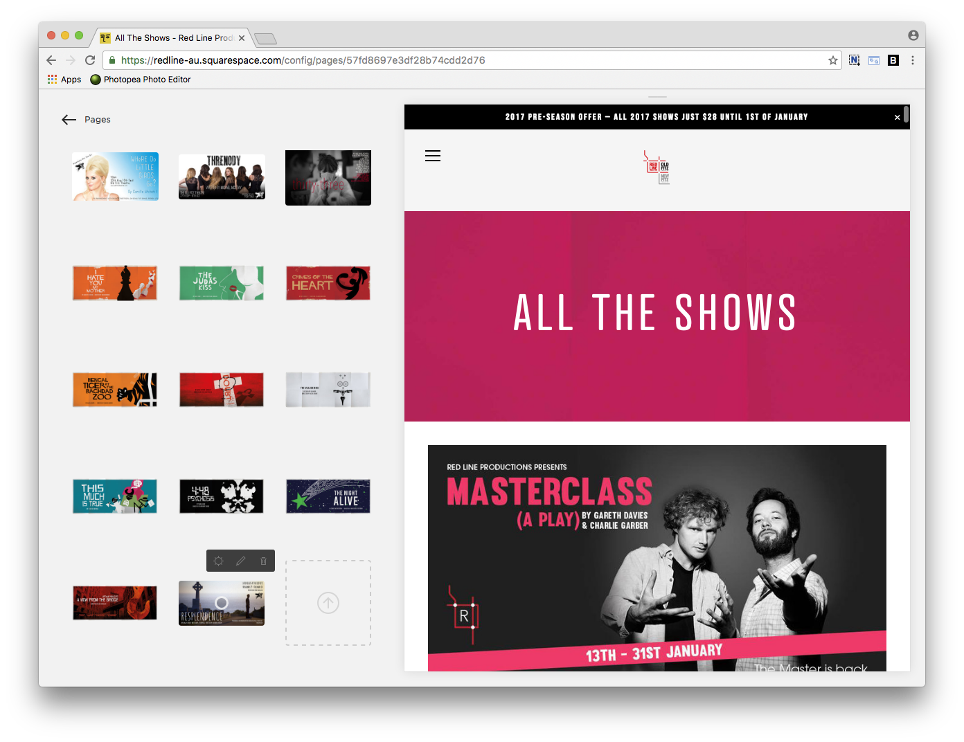Click the ARROW icon to upload your image to the ALL THE SHOWS gallery.