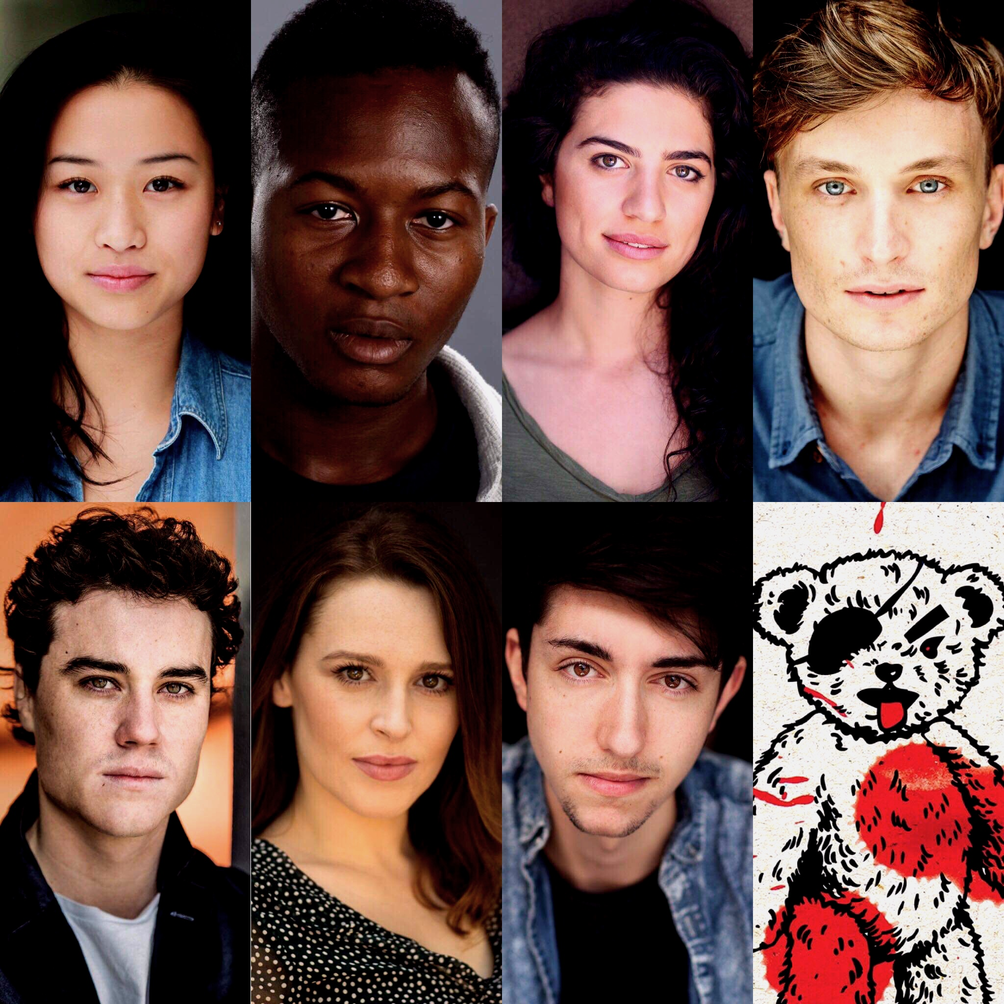 The ALICE IN SLASHERLAND cast: Stella Ye, Justin Amankwah, Mia Morrissey, Jack Angwin, Josh McElroy, Laura Murphy, Bardiya McKinnon & Edgar.