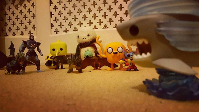 1/4 Baby Tofu and friends vs sharknado #sharknado #adventuretime #heman #lemongrab #jake #cute #plush