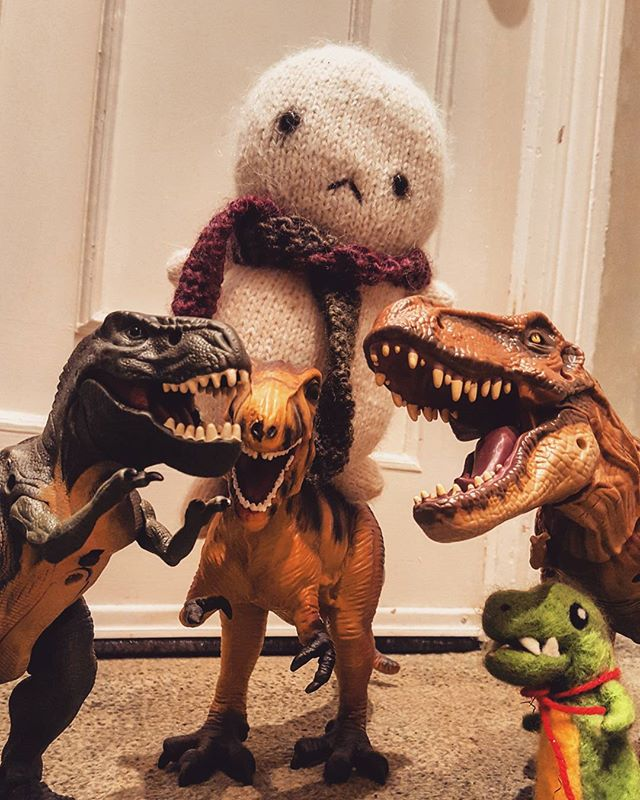 Baby Tofu with his best dinosaur buddies. #jurassicworld #cute #rawr #dino #friends
