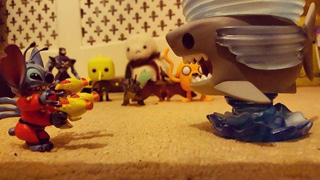 2/4 Stitch attacks sharknado! #sharknado #stitch #lilo #rawr