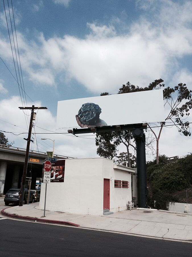 Photo:...my hobby is throwing stones (foolishness can move mountains)Billboard Project,Ben Maltz Gallery, 2014 Inside The Quad, Freeway Studies #2   Hazel Mandujano & Juan Capistran
