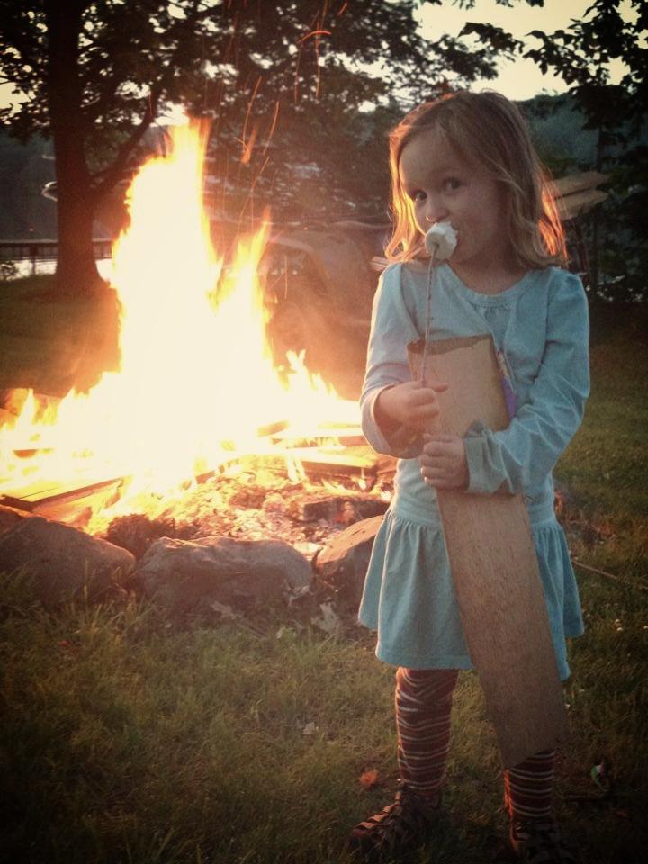 Bonfire at cabin on blake