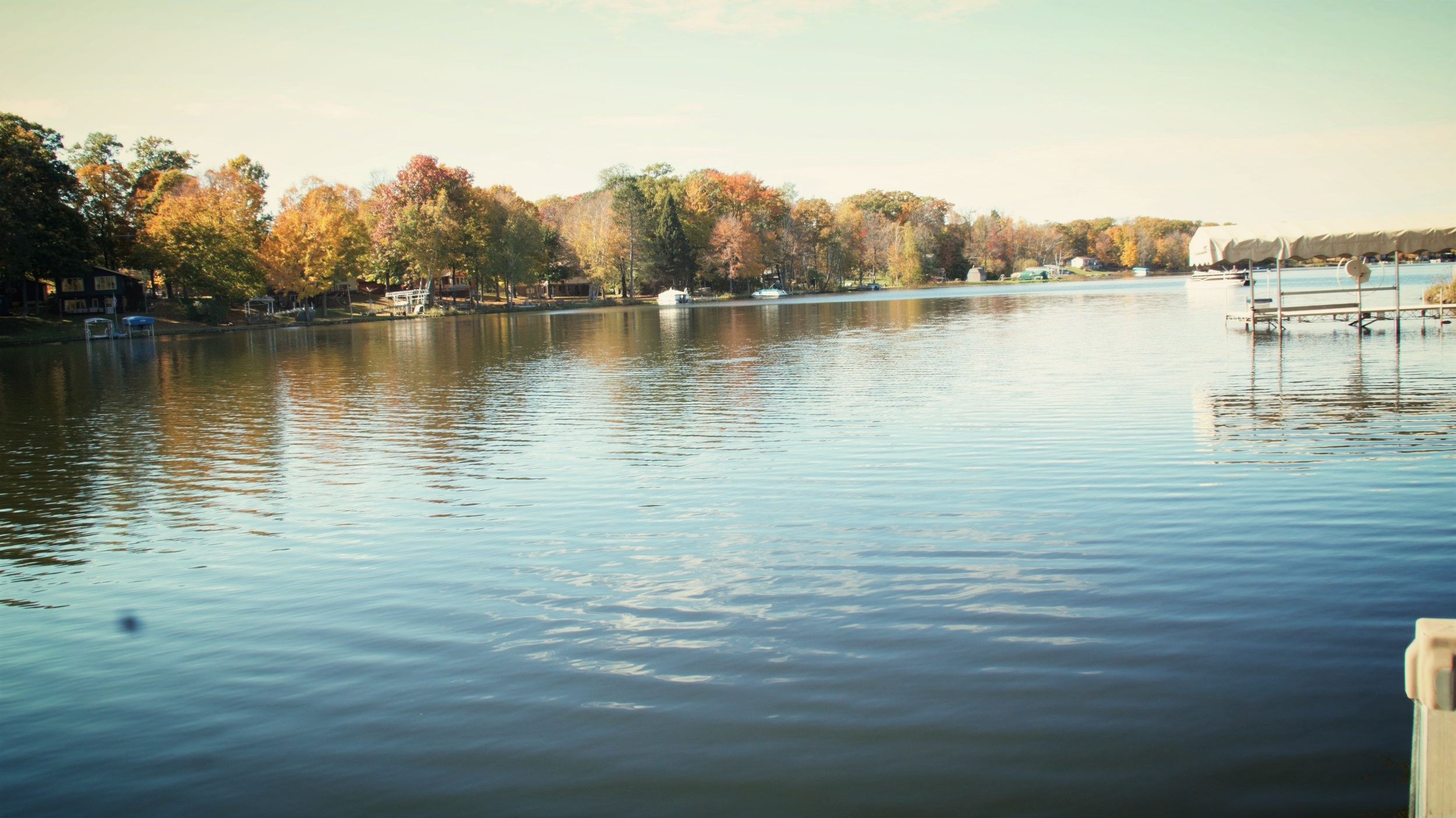 """View from Cabin on Blake """"Too.""""This is the narrowest area of the lake. Relax in this quiet no-wake zone."""