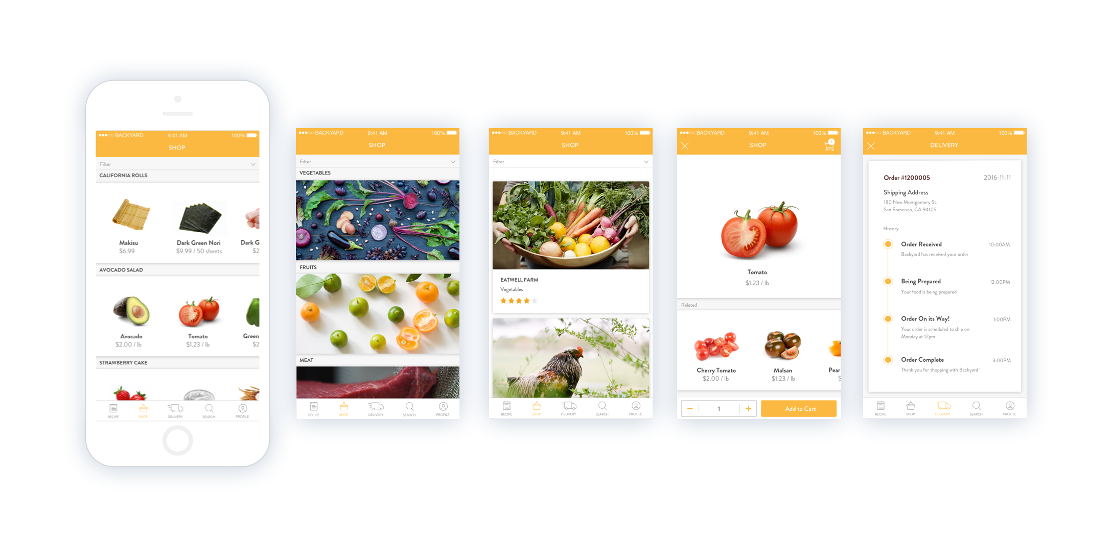 Shop by Recipe, Category, or Local Farm;  Keep Track of Delivery