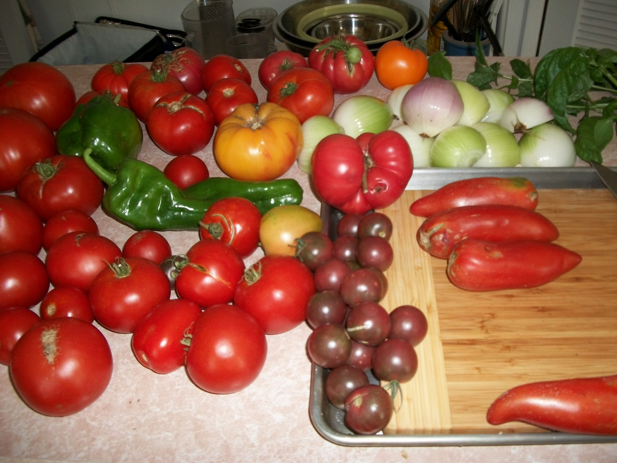 Prepping for Pasta Sauce from the Garden.