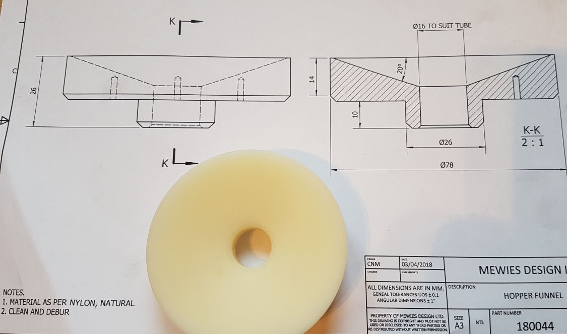 Copy of Funnel machined from solid bar for specialist machine. Material - Nylon 6