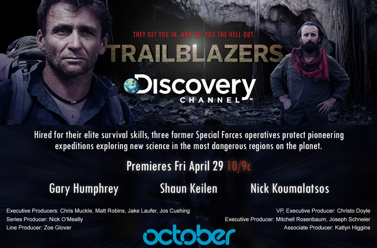 TRAILBLAZERS    Trailblazers; a new adventure series crewed by The Adventure Film Collective premieres tonight on the Discovery Channel.    In Ecuador our very own Danny Etheridge, Jim Anderson and Pete Lee, dodged lava bombs on the slopes of one of the world's most eruptive volcanoes. Ossian Bacon filmed a scientific expedition, that ventured deep into the remote Papua New Guinean rainforest. While back in London, armed with a satellite phone, AFC's Nick O'Meally oversaw and produced the series, which included a third expedition along the furthest reaches of the Bolivian Amazon.   Here's the official series description;    The quest to expand the boundaries of human knowledge takes scientists to the edges of the Earth where unseen peril lurks around every corner. From the deepest and darkest rainforest jungles to the edges of active volcanos, these men and women are searching for answers to some of the world's greatest scientific mysteries. Out of their labs and into the wilderness, they place their lives into the hands of a brotherhood of elite survivalists who are sworn to keep every expedition safe, risking their lives to ensure everybody makes it in, completes their mission, and gets out alive.  Each hour-long episode will follow three elite survivalists as they lead separate teams of scientists through some of the most dangerous regions of the world in the search for clues and discoveries that could lead to scientific breakthroughs. From the largely unexplored island of Papua New Guinea, to the Jurassic Park-like jungles of Bolivia and the volcanic landscapes of Ecuador - Gary Humphrey, Nick Koumalatsos and Shaun Keilen represent some of the most elite trailblazers in the world. With decades of combined survival experience between them- do these trailblazers have what it takes to not only survive the harsh elements, but accomplish their mission while keeping everyone on their team safe?   Trailblazers on Twitter     Trailblazers on Facebook    Trailblazers on Discovery