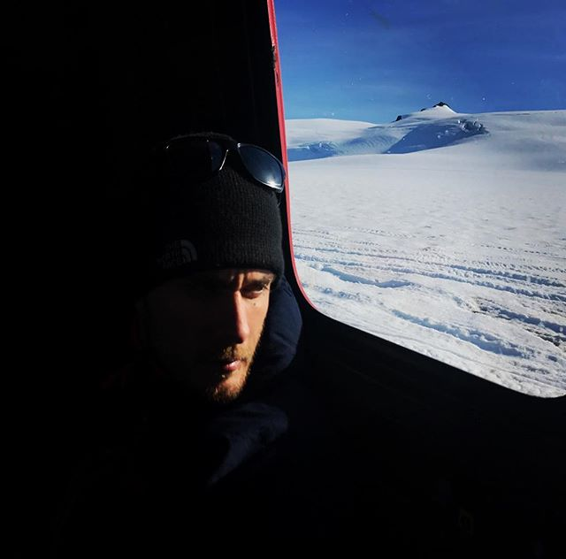 @adventurefilmcollective Director of Photography @jimmyanderson98 looking mean and moody as he takes a moment out to plan his next shoot on one of the world's largest glaciers. He's riding in a snow cat, the only way to reach the remote location. #adventurefilmcollective #iceland