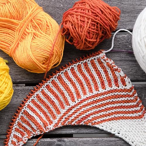 New shawl knitting pattern WIP. stripes and brioche stitches, asymmetrical shawl