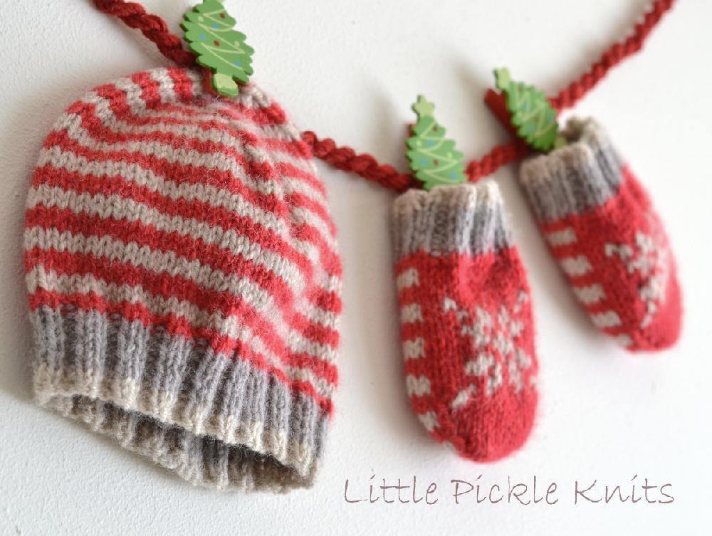 Little Stripe Hat and Little Snowflake Mittens  by   Little Pickle Knits