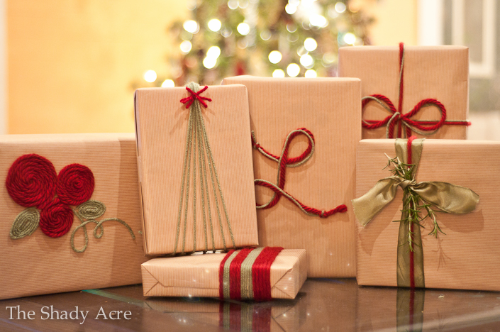 Inexpensive Gift Wrap Ideas Using Yarn  by   The Shady Acre