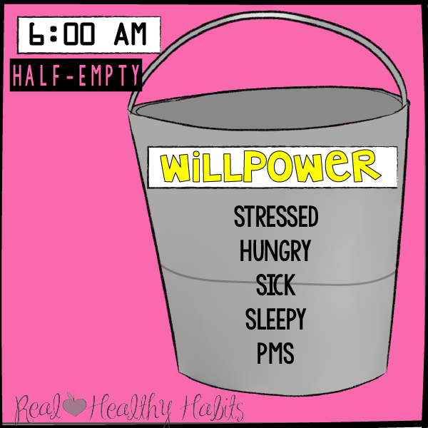 Your Willpower is only half full when you are stressed, hungry, sick, sleepy, or have PMS. | understand what willpower is and how it gets drained | Pulling BACK The Curtain On Willpower | realhealthyhabits.com