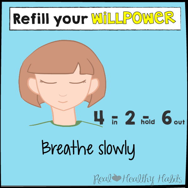 Breathe slowly to refill your willpower to lose weight | The Willpower Solution | realhealthyhabits.com