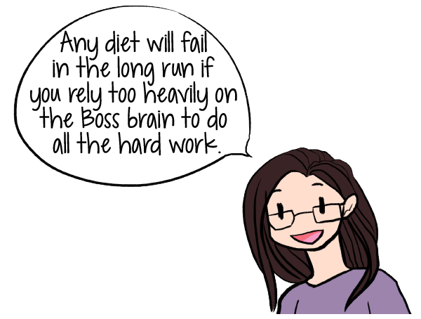 Any diet will fail in the long run if you rely too heavily on the Boss brain to do all the hard work--Retrain your Brain to Lose Weight Without Dieting | Want to Know How to Lose Weight Without Dieting? | www.realhealthyhabits.com
