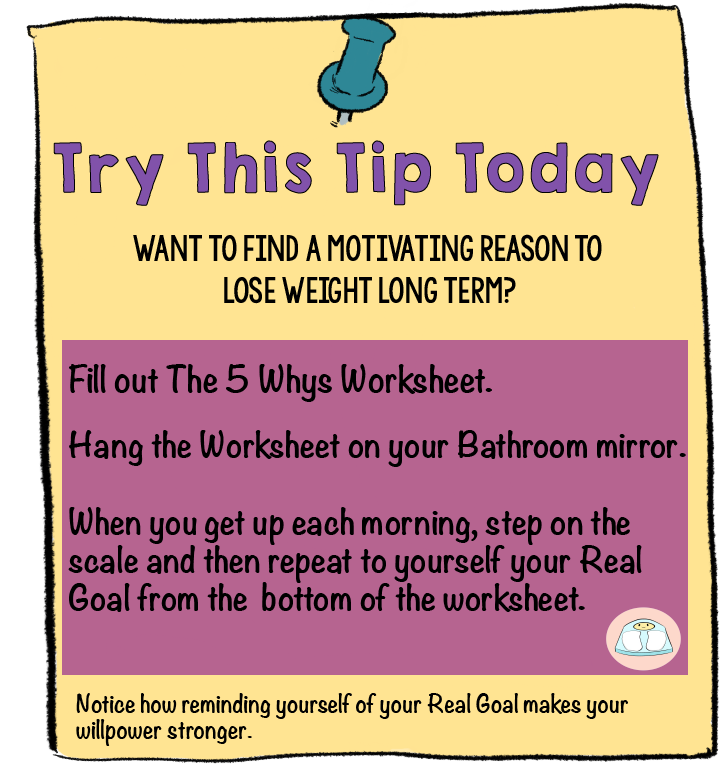 Try This Tip Today--Do the 5 Whys and review your Real Goal every morning when you step on the scale  | Learn your REAL GOAL for weight loss. Bet it isn't really the number on the scale.| Create a Life-Changing Goal for Motivated Weight Loss | www.realhealthyhabits.com