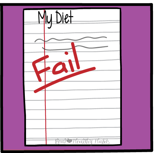 Do you feel like you've failed your diet? Change your weight loss mindset from a short term diet fix to long term lifestyle changes. | You need to make changes that are both enjoyable and sustainable. | www.realhealthyhabits.com