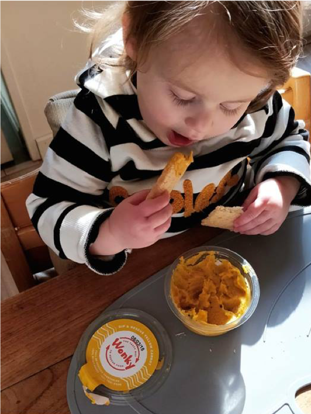 Wonky dip as healthy snack for kids