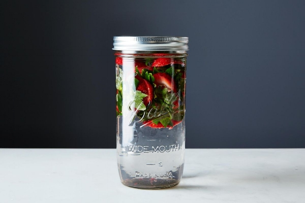 Fresh water infused with Strawberry tops to avoid waste at home.