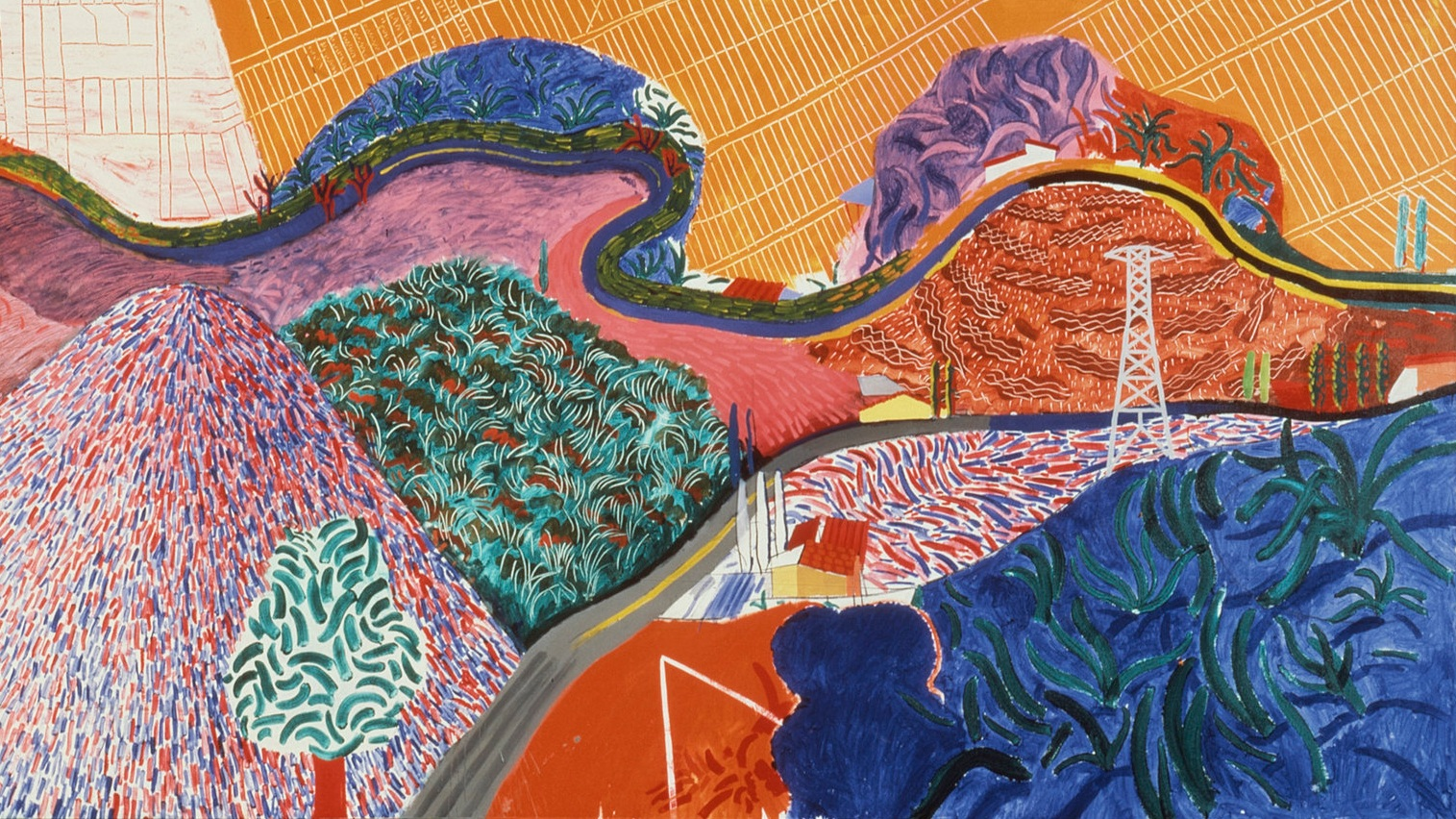 David Hockney,  Mulholland Drive: The Road to the Studio , England, 1980, Acrylic on canvas. Los Angeles County Museum of Art.